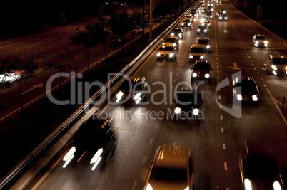 Night city scene, on the road