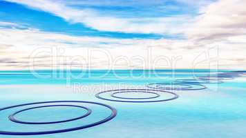 Rings in the water, 3D illustration