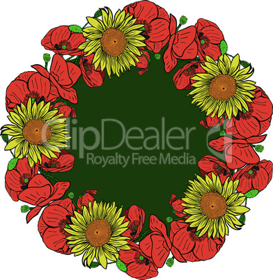 wreath of red blossoming poppies and yellow sunflowers, isolated on white background