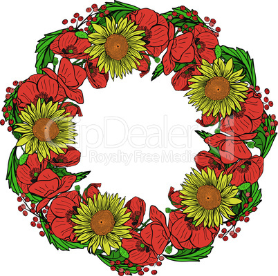 wreath of red blossoming poppies, yellow sunflowers and green leaves
