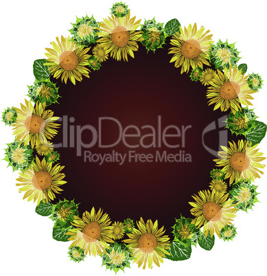 round wreath of yellow blossoming sunflowers, inside empty space