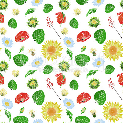 poppy, sunflower, chamomile, green leaf and branch with berries seamless pattern