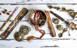 Tibetan religious objects for meditation and alternative medicin