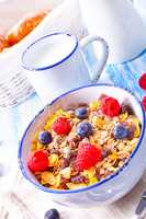 muesli breakfast menu with forest fruits