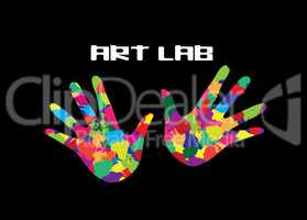 Art Lab Icon. Painted Hands Inspiration concept for art education