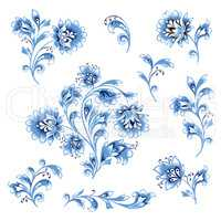 Floral pattern design element set. Ornamental flower decor colle