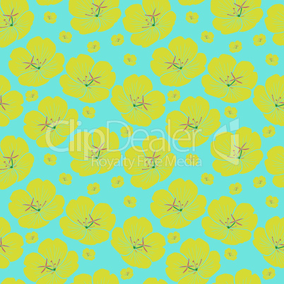 yellow hand drawn yellow flower, seamless pattern