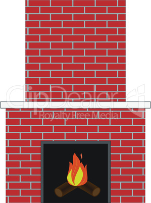 Brick fireplace with fire