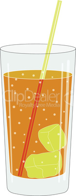 Glass with a drink and tube