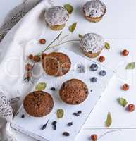 round baked muffins with raisins on a white wooden board