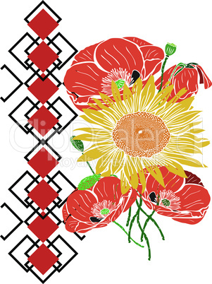 bouquet of sunflowers and red blossoming poppies, side view geometric pattern