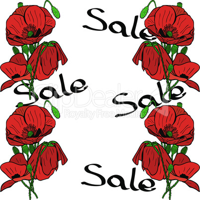 bouquets of red poppies and inscription sale