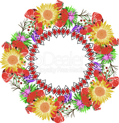 wreath of sunflower and red flowering poppies and wildflowers, geometric pattern, isolated on white background