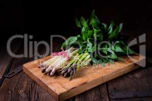 Bear's garlic with white and green asparagus