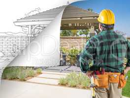Contractor Facing Pergola Photo with Page Flipping to Drawing Be