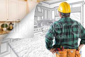 Contractor Facing Kitchen Drawing with Page Corner Flipping to C