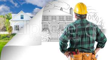 Contractor Facing House Drawing with Page Corner Flipping to Pho
