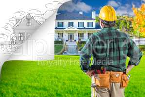 Contractor Facing House Photo with Page Corner Flipping to Drawi