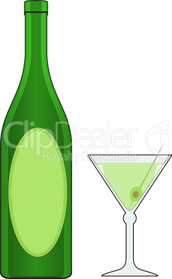 Bottle and glass with drink