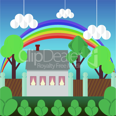 Cartoon multicolored house and rainbow