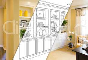 Custom Built-in Shelves and Cabinets Design Drawing with Cross S