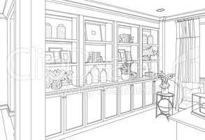 Detailed Drawing of Custom Living Room Built-in Shelves and Cabi