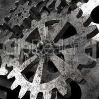 engine gear wheels, industrial 3d background