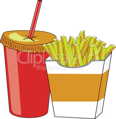 French fries and a glass of drink