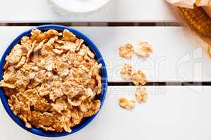 Cornflakes in a blue bowl