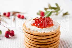 Cookies with strawberry jam