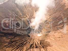 Crater of an Active Volcano. Aerial View