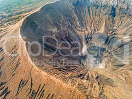 Crater and Caldera of an Active Volcano. Aerial View
