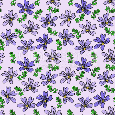purple flower and green twig on light lilac background
