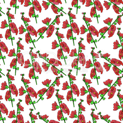 branch of mallow with red blossoming flowers, seamless pattern