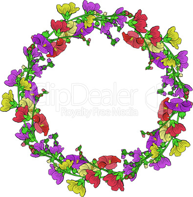round wreath of flowering branches with pink, red and yellow buds mallow isolated on white background