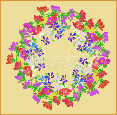 wreath of flowering branches with pink, red and yellow buds of mallow and blue small flowers on a yellow background