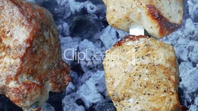 Meat shashlik or shish kebab preparing