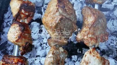 Meat shashlik or shish kebab prepared on the  metal skewers