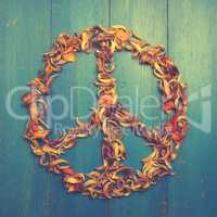 Peace sign of dried petals