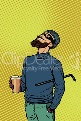 Robber thief hacker drinks coffee and looks up