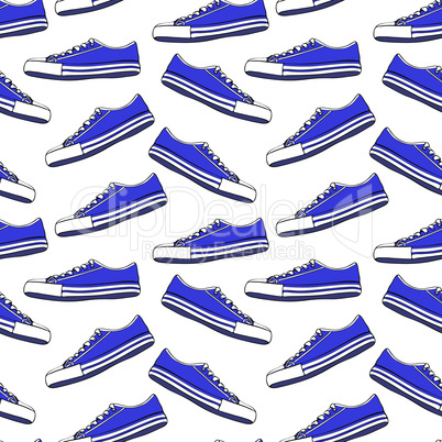 blue textile youth shoes with white laces