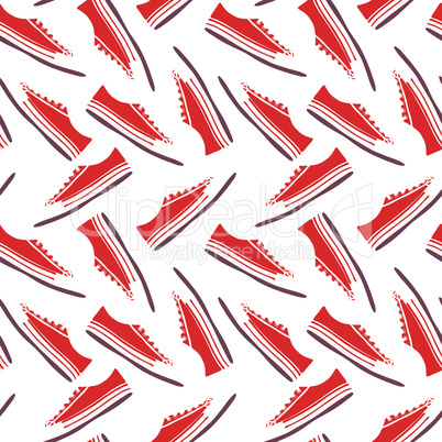 red textile sneakers with white laces, seamless pattern