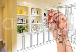 Hand Drawing Home Built-in Shelves and Cabinets with Photo Cross