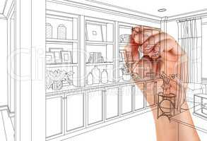 Hand Drawing Home Built-in Shelves and Cabinets on White