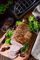 cooked ham with colorful pfefer