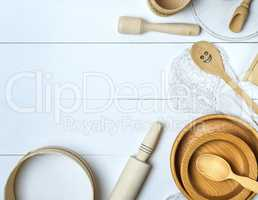 wooden  sieve and rolling pin, top view