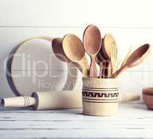 wooden objects in a wooden jar