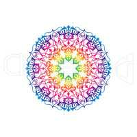 Ornamental round floral mlticolor pattern. Flower mandala white