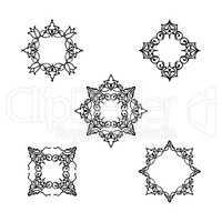 Ornamental line floral pattern set. Flower mandala arabic orname