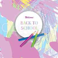 Back to school banner. Kids ar lab painted background with color